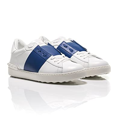 526370b9cbe3 Valentino Open Blue Striped Leather Sneakers (9 UK)  Amazon.co.uk ...