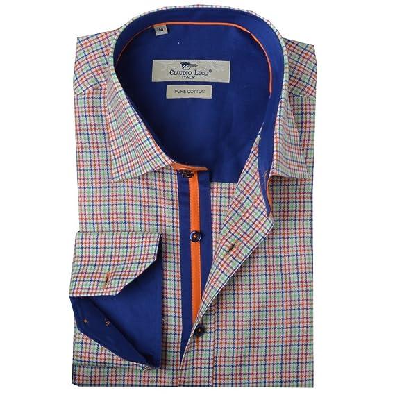ea56d8d462fda Claudio Lugli Classic Check Mens Shirt Lime Green Large  Amazon.co.uk   Clothing