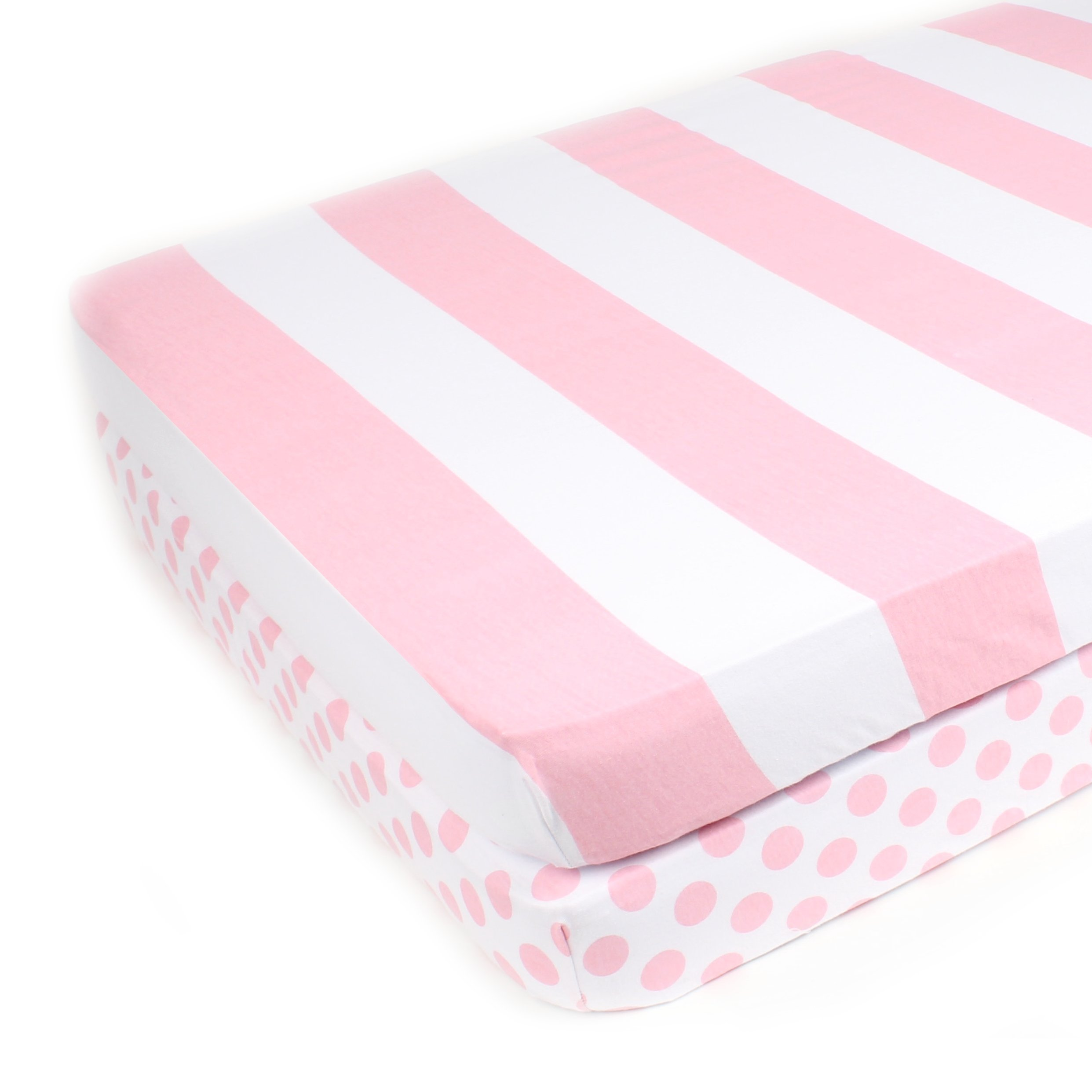 Pack N Play Playard Sheet Set - 2 Pack - Fitted, Soft Jersey Cotton Portable Crib Sheet - Baby Bedding in Pink Stripes & Polka Dots by Mumby