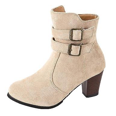 573e32f34c76d Amazon.com: Dunacifa Women's Rome Ankle Boots Side Zipper with Belt ...
