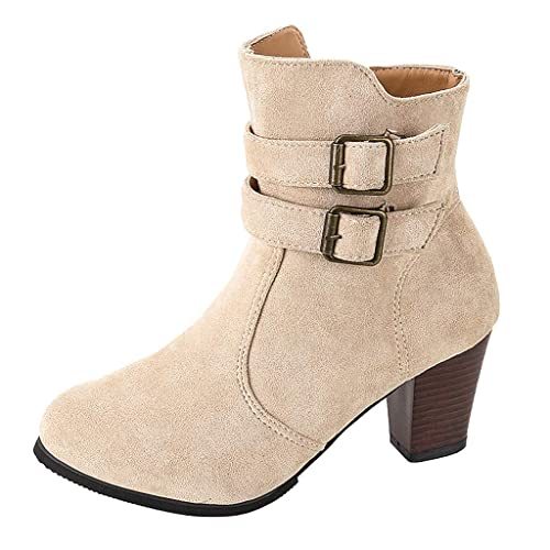 Botas Mujer Invierno Cremallera Lateral Botas Zapatos de ...