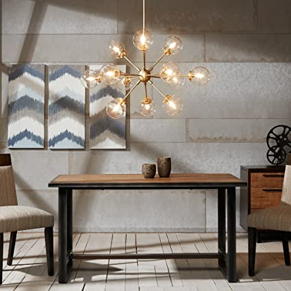 Ink+Ivy 12 Lights Oversized Bulb Sputnik Chandelier Gold Finish Modern  Dining Room Pendant Lighting