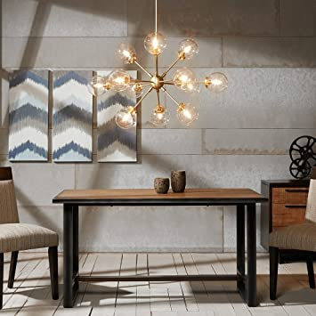 Ink Ivy 12 Lights Oversized Bulb Sputnik Chandelier Gold Finish Modern Dining Room Pendant Lighting
