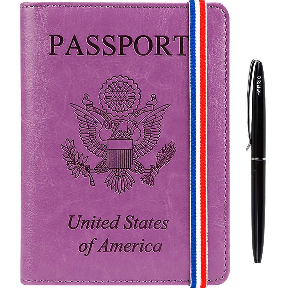 Passport Holder Cover wallet Case-Leather RFID Blocking Travel Document Organizer with Bonus Pen for women men(Medium Orchid)