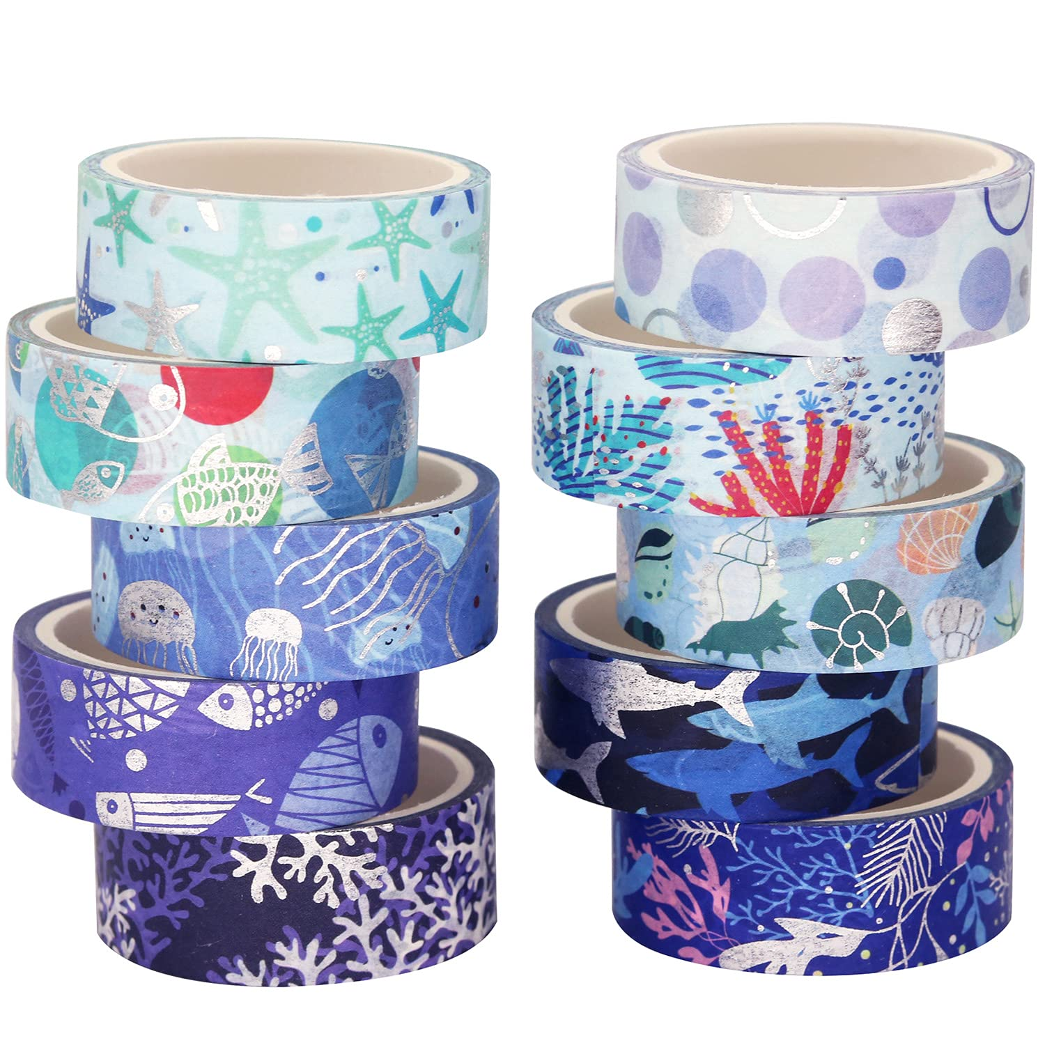YUBX Ocean Blue Washi Tape Set 10 Rolls Silver Foil Print Decorative Masking Tapes for Arts, DIY Crafts, Bullet Journals, Planners, Scrapbook, Wrapping