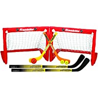 Franklin Sports - Juego de 2 porterías de hockey plegable para niños, NHL, hockey de calle y hockey de rodilla, incluye 2 palos de hockey ajustables, 2 palos de hockey de rodilla, 2 pelotas de hockey – portería de 24 x 19 x 19 pulgadas