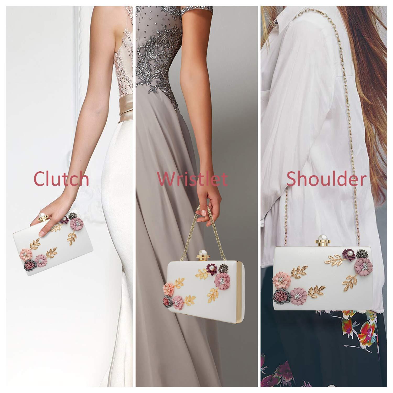 Fleur#1 WATACHE Femmes Fleur Embrayages Sacs De Soir/ée Sacs /À Main Perle Perl/é De Mariage Sac /À Main Dembrayage pour Bal De Noce De Mariage De Mari/ée