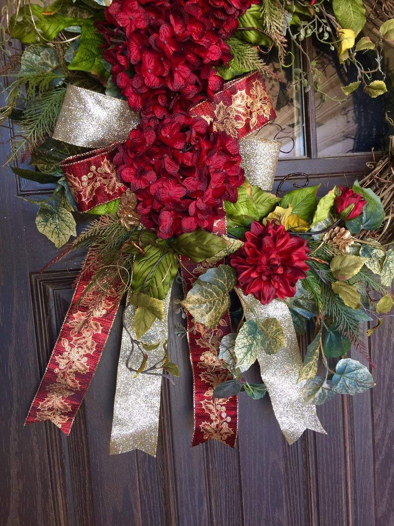 Amazon Com Large Red And Gold Front Door Holiday Hydrangea