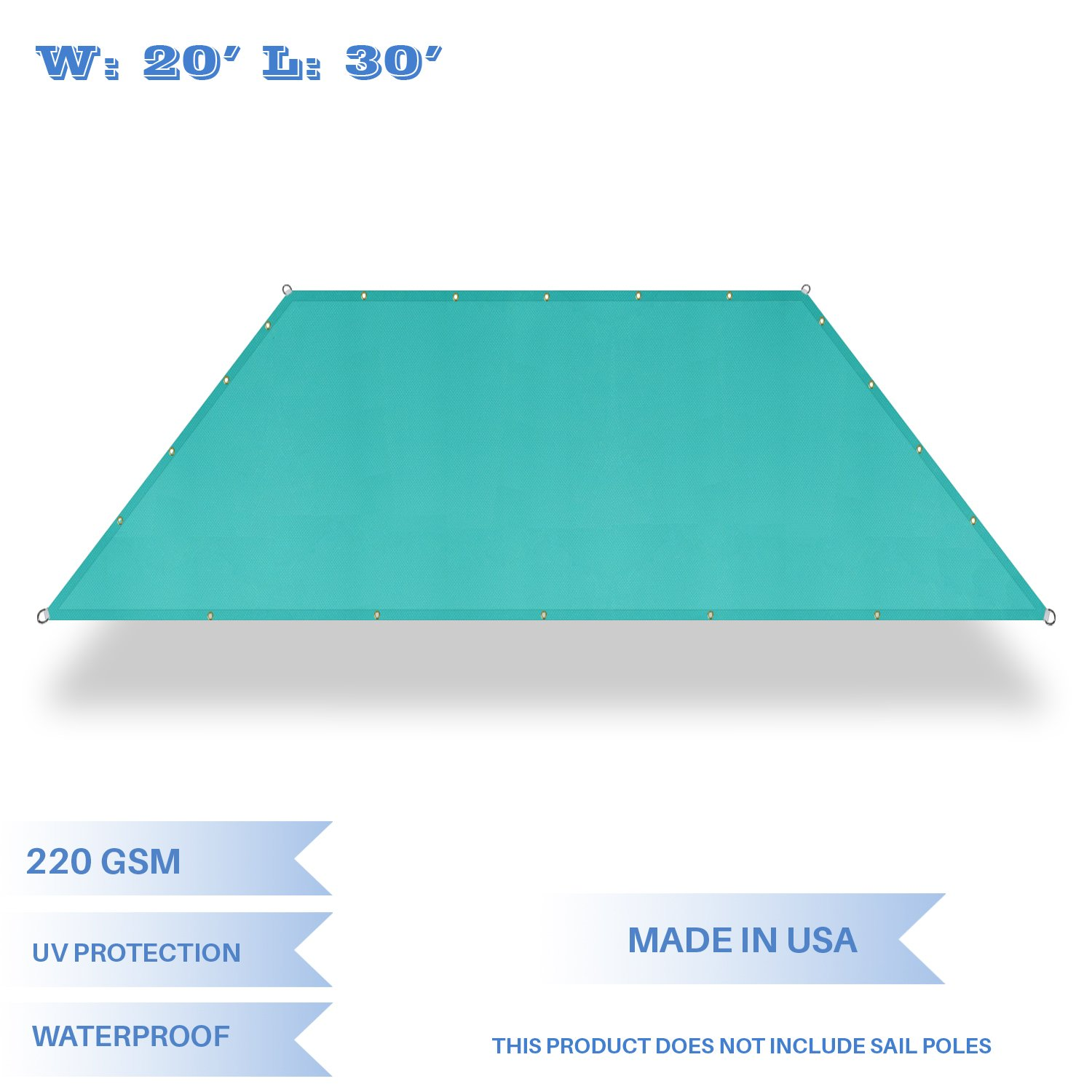 E&K Sunrise 20' x 30' Waterproof Sun Shade Sail-Turquoise Green Straight Edge Rectangle UV Block Durable Awning Perfect for Canopy Outdoor Garden Backyard-Customized Sizes Available
