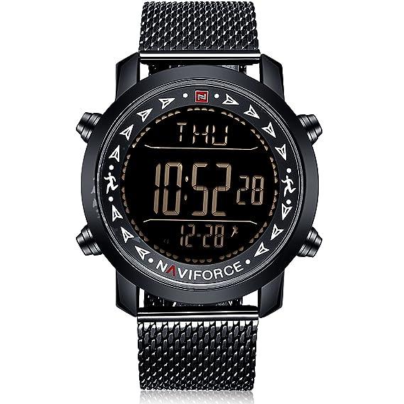 Navi Force Hombre Digital Reloj Negro con Correa de acero inoxidable: Amazon.es: Relojes