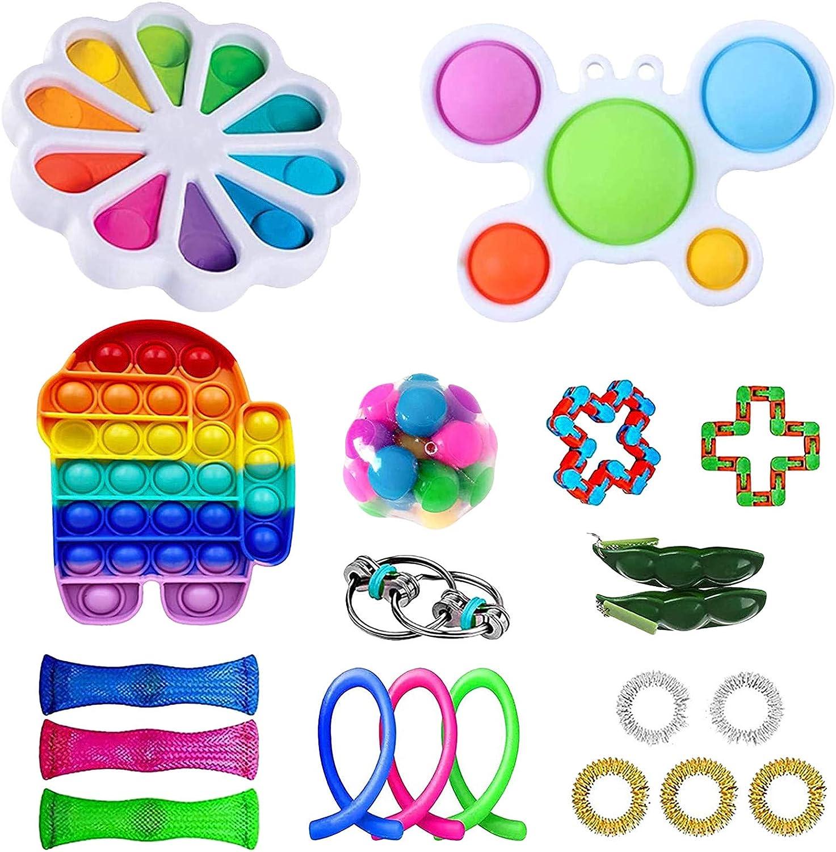 GBSELL 30Pcs Sensory Fidget Toy Packs, Fidget Blocks,Fidget Set Sensory Relieves Stress Anxiety for Kids Adults (21PCS D)