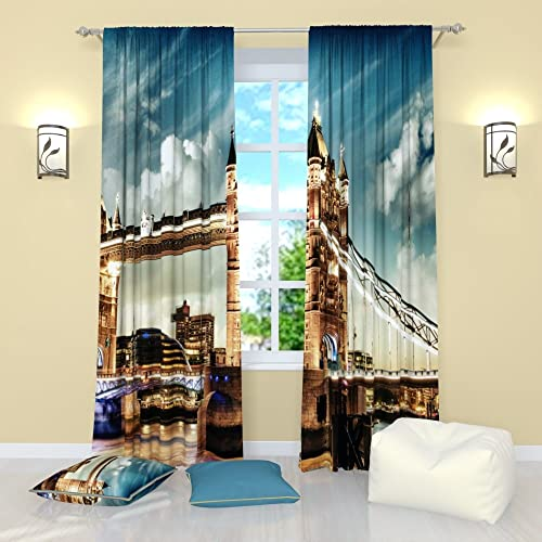 Factory4me City Window Curtains London Tower Bridge. Window Curtain Set of 2 Panels Each W52 x L96 Total W104 x L96 inches Drapes for Living Room Bedroom Kitchen