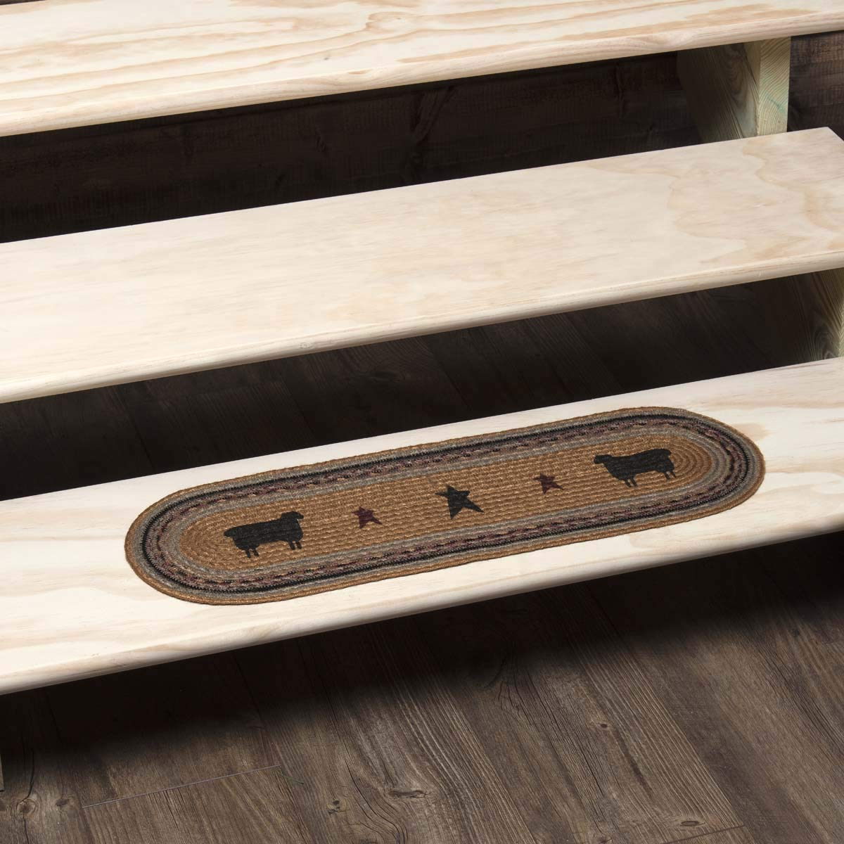 Stair Tread Mustard Yellow VHC Brands 34044 Primitive Flooring-Heritage Farms Tan Sheep Oval Jute