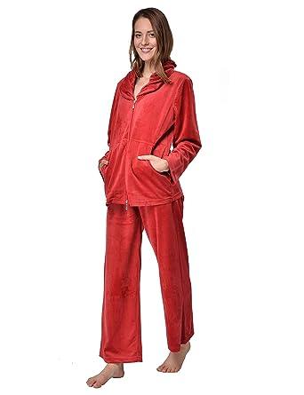 Raikou Damen Hausanzug Micro Velours Schlafanzug mit Reißverschluss Nicki-Anzug Zweiteiliger Jacke und Hose Freizeitanzug