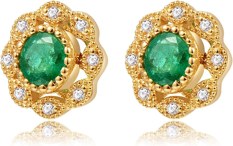 ANAZOZ 18K Oro Pendientes Mujer Oro Pendientes Mujer Flor Esmeralda Verde Blanca 0.27ct