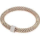 Rafaela Donata - Bracelet maille gourmette - Acier inoxydable cristal de verre - En différentes longueurs, bracelet cristal de verre, bijoux en acier inoxydable - 60917009