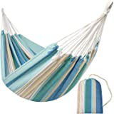Brazilian Hammock-Canvas Travel Hammock Portable Beath with Carry Bag for Backyard, Porch, Outdoor and Indoor Use (Blue & Green Stripes)