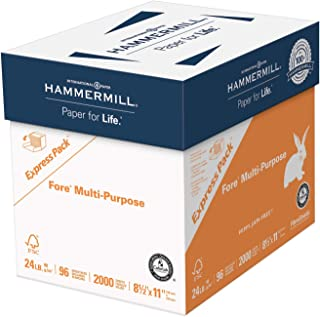 product image for Hammermill Printer Paper, Fore Multipurpose 24 lb Copy Paper, 8.5 x 11 - Express Pack (2,000 Sheets) - 96 Bright, Made in the USA