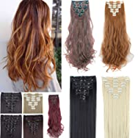 (60cm Straight - 175g, Ash Blonde) - FUT Full Head Clip in on Hair Extension Double Weft Thick Synthetic Hair Piece for Women 8pcs 18 Clips 175g (60cm Straight - Ash Blonde)