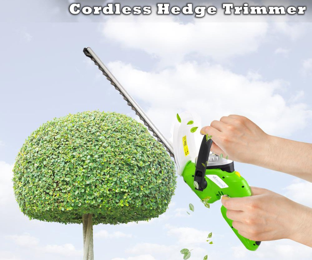 Premium Hedger, Grass Clippers Cordless, Hedger Battery, Power Trimmer Bushes, Cordless Yard Trimmer, Electric Shrub Trimmer, Rechargeable Battery, Charge Time 4 Hrs, 18V, Perfect For Hedges & Shrubs by SereneLife