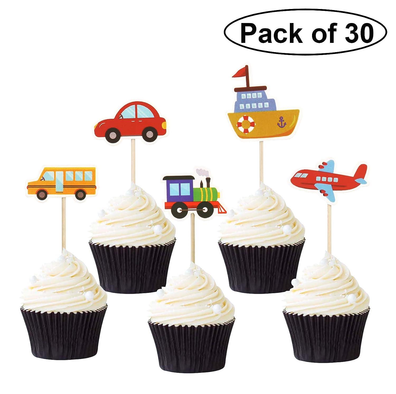 Pack de 30 adornos para cupcakes de transporte, para coche ...