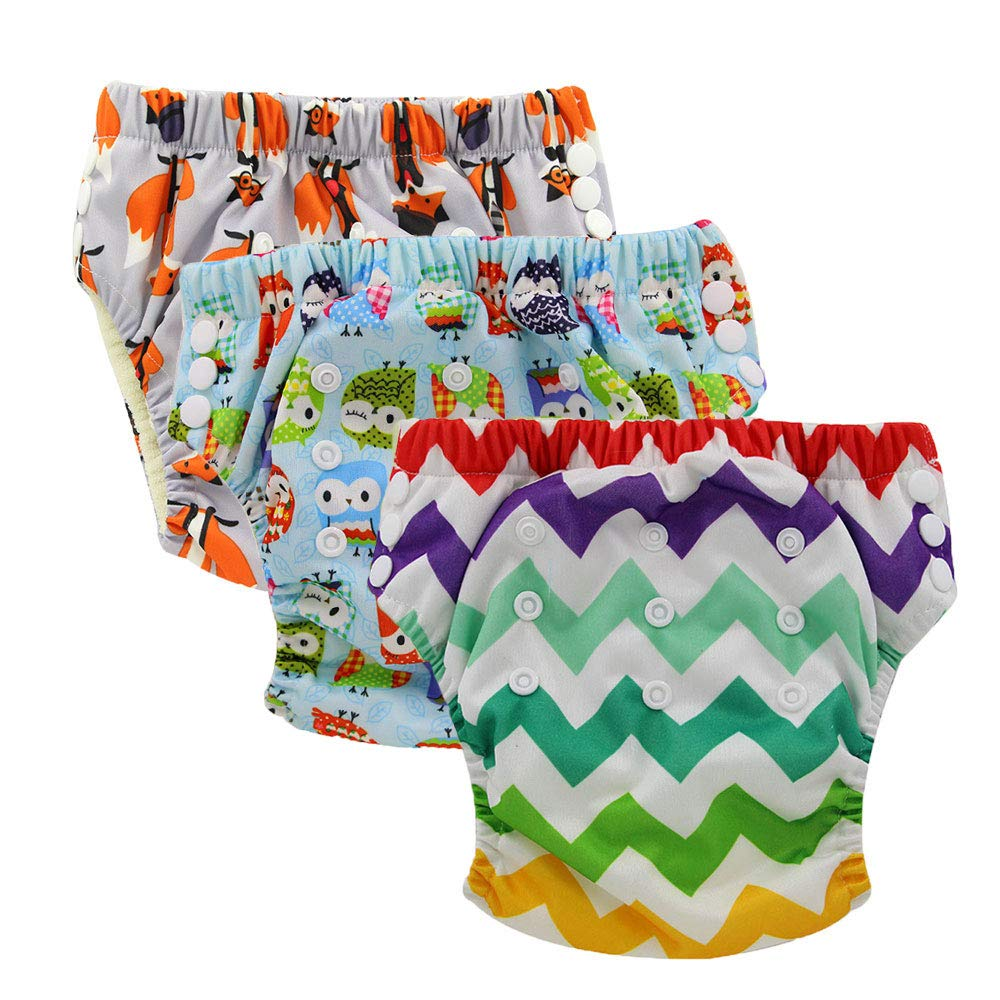 Ohbabyka Waterproof Adjustable Baby Training Diaper Pants, Baby Potty Training Pants (style-09)