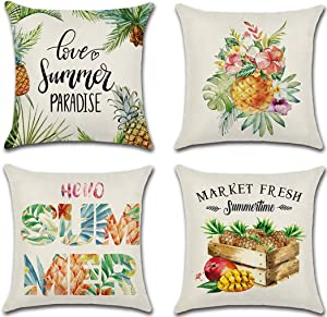 wtisan Pineapple Pillows,Summer Pillow Covers 18X18,Farmhouse Outdoor Pillow Covers,Decorative Throw Pillow Covers for Home Patio Couch Sofa,Set of 4