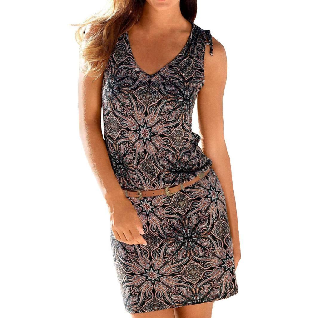 Gergeos Womens Dress Casual Retro Sleeveless Print V-Neck Mini Beach Dress Gergeos-134