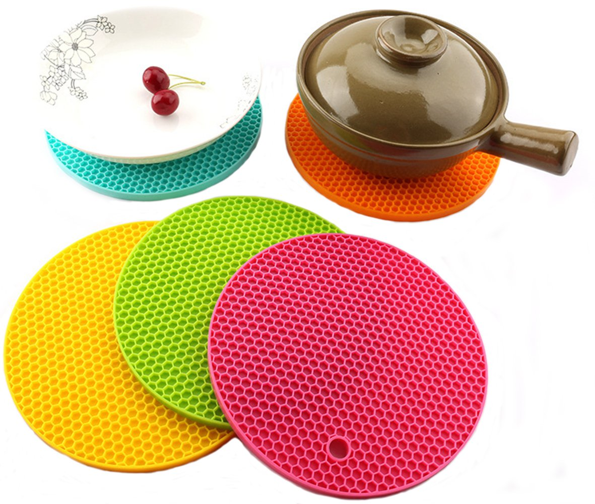 4 PCS Silicon Coasters Trivet Hot Pan Holder Non-Slip Pot Mat Heat Resistant Placemat (Round) DreamColor