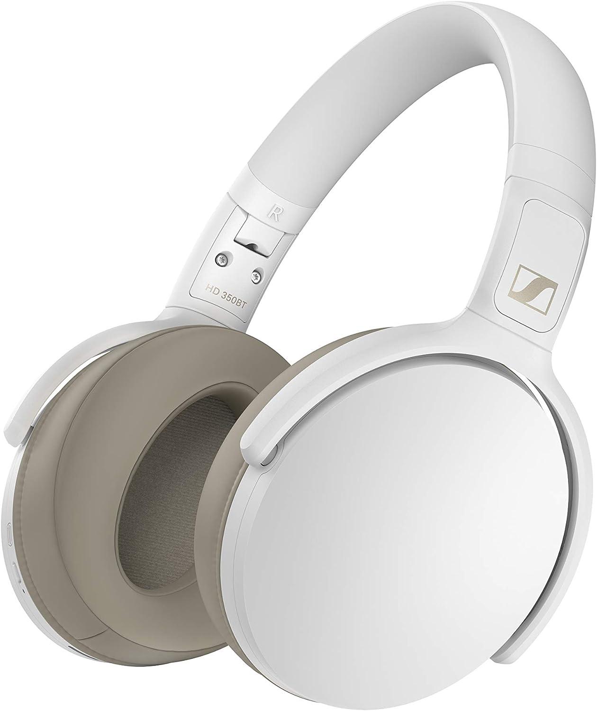 Sennheiser HD 350BT Bluetooth 5.0 Wireless Headphone - 30-Hour Battery Life, USB-C Fast Charging, Virtual Assistant Button, Foldable - White (HD 350BT White)