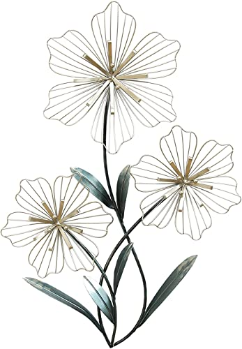 Stratton Home Decor SHD0198 Tri-Flower Wall Decor, 18.50 W X 1.38 D X 30.00 H, Silver and Blue