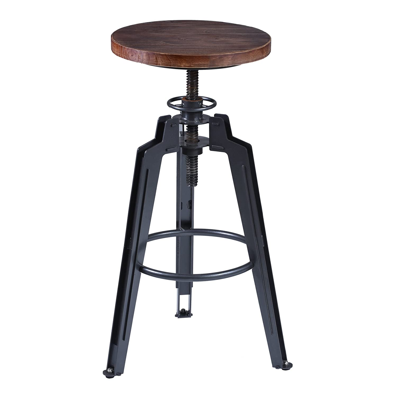 Superb Amazon.com: Armen Living LCTRSTGMPI Tribeca Adjustable Barstool In Ash Wood  And Industrial Grey Metal Finish: Kitchen U0026 Dining