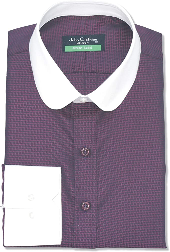 Penny collar Bankers shirt Maroon stripes Gents Round Club collar Peaky Blinders