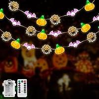 Lichtsnoer met pompoen, 8 modi, 3 m, 30 leds, voor Halloween, spin, lichtketting met afstandsbediening, waterdicht…