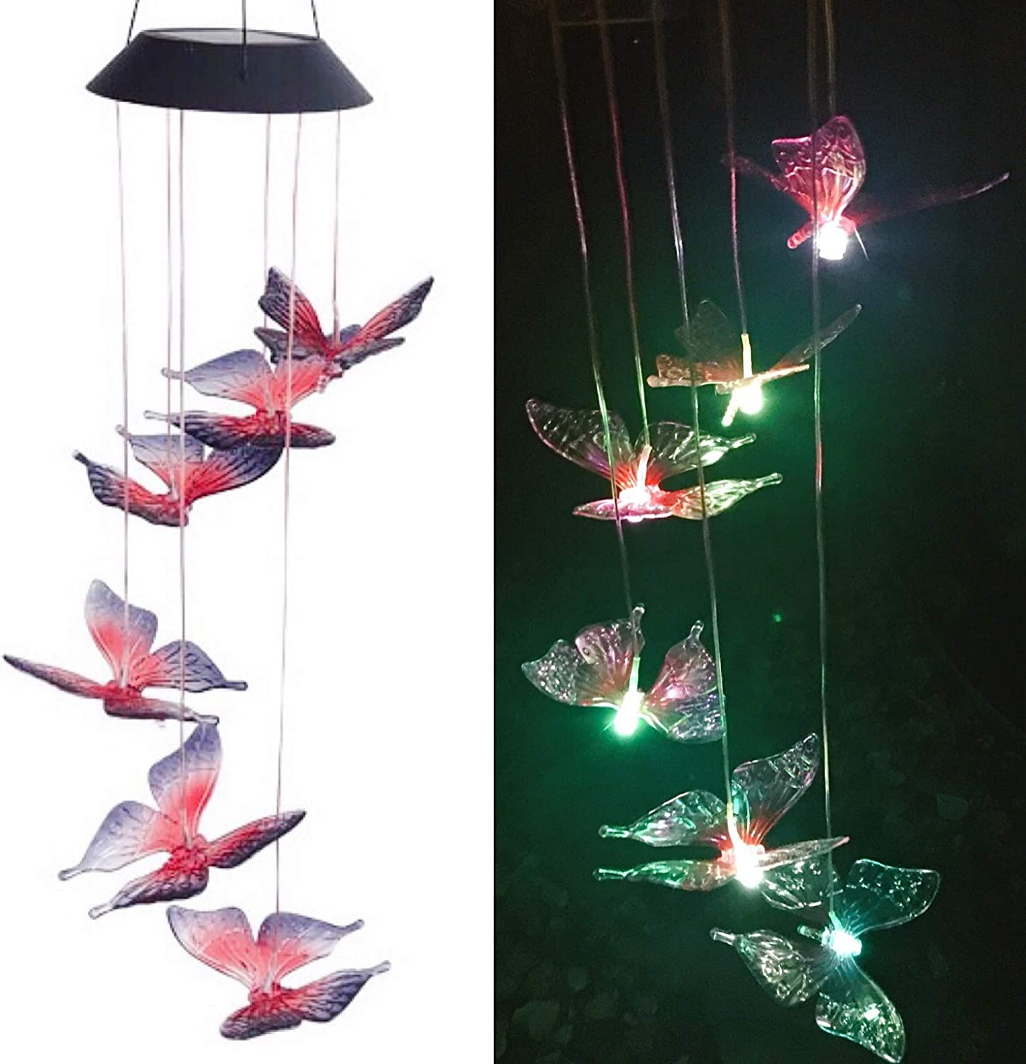 Butterfly Solar Wind Chimes Outdoor Color Changing Waterproof Wind Mobile LED Spiral Spinner Indoor Outdoor Decor Yard Garden Patio Home Party Festival Decorative Light, Blue Red Butterfly