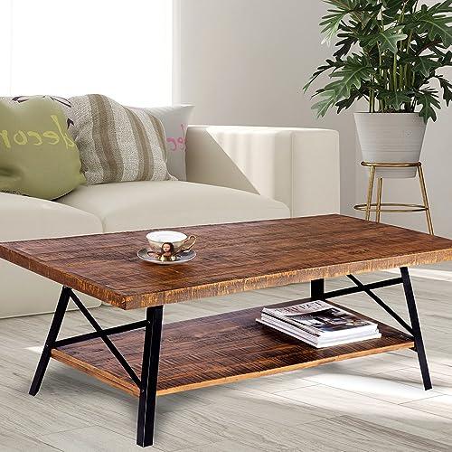 Olee Sleep 46 Cocktail Wood Metal Legs Coffee Table, Rustic Brown