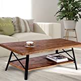 """Olee Sleep 46"""" Cocktail Wood & Metal Legs Coffee Table/End Table/Side Table/Dining Table/Sofa Table/TV Table/Vanity Table/Office Table/Computer Table, Rustic Brown"""