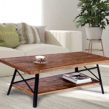 Olee Sleep 46  Cocktail Wood & Metal Legs Coffee Table/End Table/Side Table/Dining Table/Sofa Table/TV Table/Vanity Table/Office Table/Computer Table, Rustic Brown