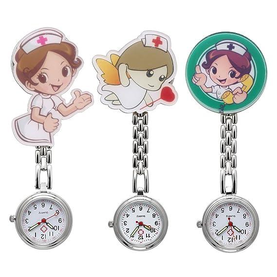 JSDDE - Reloj de bolsillo para enfermera, diseño de dibujos animados, con broche de metal de clip y con aguja de reloj luminosa, 3 unidades: Amazon.es: ...