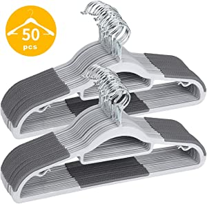 "TIMMY Plastic Hangers 50 Pack Heavy Duty Dry Wet Clothes Hangers with Non-Slip Pads Space Saving 0.2"" Thickness Super Lightweight Organizer"