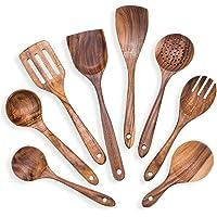 Wooden Kitchen Cooking Utensils Set 8 Teak Cooking Utensil Tools Cooking Spoon Set Kitchen Utensils Gadgets Set Non-stick Pan Kitchen Tool for Nonstick Cookware Gift