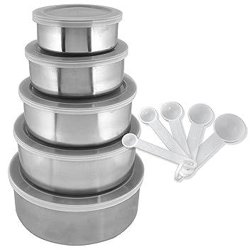 Juego de 15 cuencos de cocina de acero inoxidable con tapa y ...