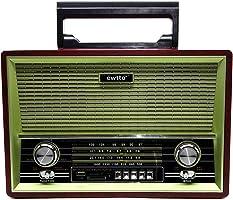 Radio Retro Portatil com entrada USB e Cartao SD, Bluetooth, AM/FM com bateria recarregavel ET-R1716B frente cinza