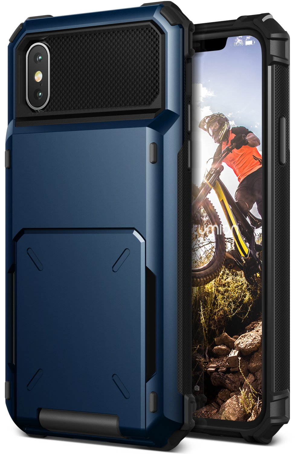 iPhone X Case :: VRS X Lumion :: Full Body Protective Armor :: Hybrid Card Slot Holder :: ID Credit Card Travel Wallet Pouch for Apple iPhone X/iPhone 10 (Damda Folder)(Deep Sea Blue)