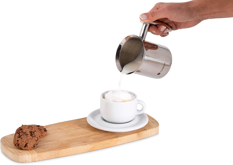 montalatte per schiuma di latte cremosa per specialit/à di caff/è argento, 400 ml latte frother incluso e-book barista VIENESSO Montalatte manuale manuale in acciaio inox con doppio filtro a rete