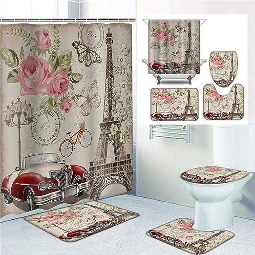 Rose Series Waterproof Bathroom Shower Curtain Toilet Cover Mat Rug Se Be