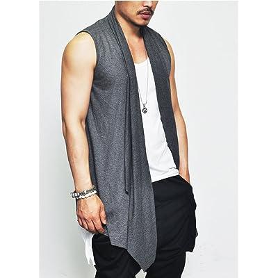 Men Shawl Collar Open Front Sleeveless Cardigan Vest