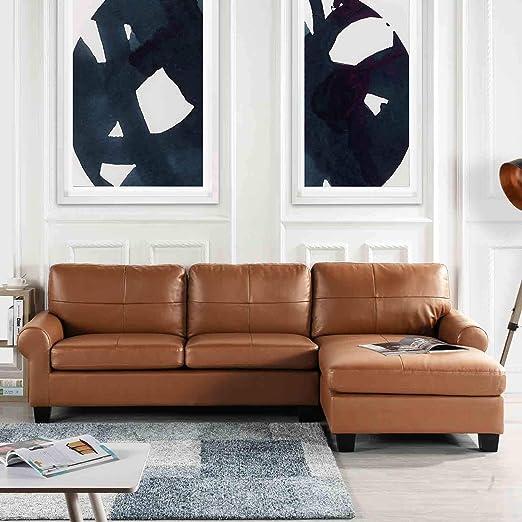 Amazon.com: Sofá tapizado de piel con forma de L, muebles ...