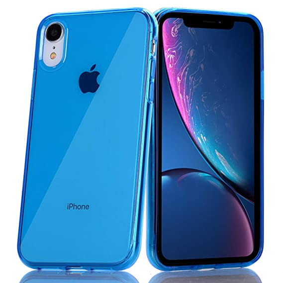 BAISRKE Blue Clear Case for iPhone XR Slim TPU Bumper Glossy Flexible Soft  Silicone Rubber Compatible with iPhone XR [6.1 inch]
