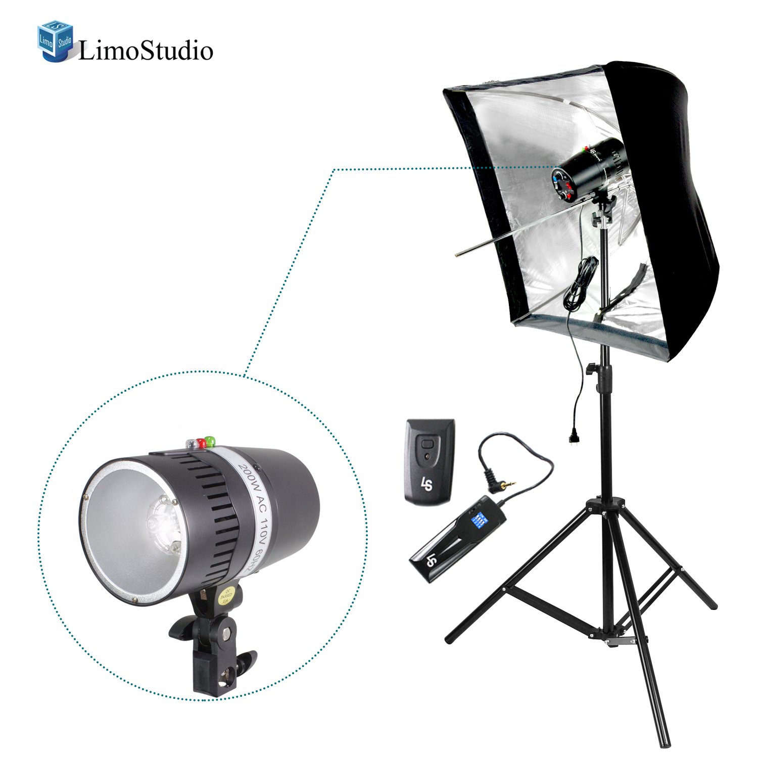 """LimoStudio Digital Strobe Flash Light & Umbrella Reflector Holder with 4-Channel Radio Remote Trigger & Receiver Set, 28"""" Reflective Sofbox, and Light Stand Tripod for Photo and Video Studio, AGG2748"""